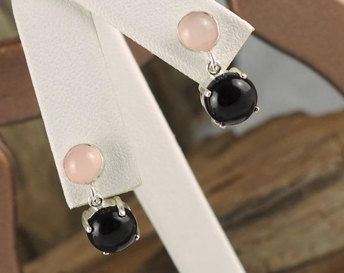 Silver Earrings -Rose Quartz Earrings -Black Onyx Earrings -Dangle Earrings-Drop Earrings -Boho Earrings -Statement Earrings -Stone Earrings