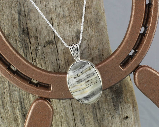 Sterling Silver Pendant/Necklace-Silver Lace Onyx Pendant/Necklace - 30mm x 22mm Natural Silver Lace Onyx Stone in a Sterling Silver Setting