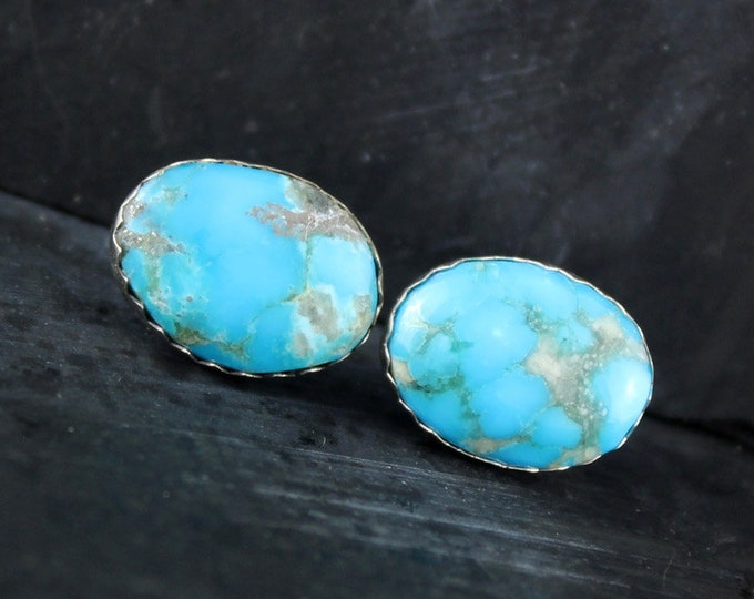 Silver Earrings - Turquoise Earrings -Boho Earrings -Stud Earrings - Statement Earrings - Wedding Earrings - Blue Stone Earrings- Earrings