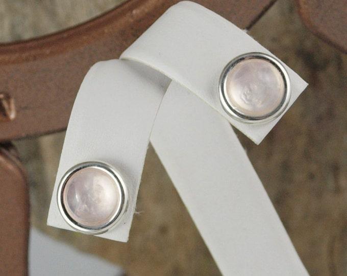 Silver Earrings - Rose Quartz Earrings- Statement Earrings -Studs - Stud Earrings -  Pink Stone Earrings- Stone Earrings- Boho Earrings