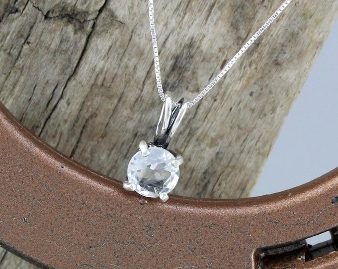 Sterling Silver Pendant/Necklace - White Quartz Pendant/Necklace - Sterling Silver Setting with an 8mm Natural White Quartz Stone