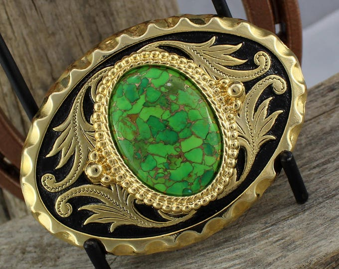 Western Belt Buckle - Turquoise Belt Buckle -Cowboy Belt Buckle -  Gold Tone & Black Belt Buckle with a Mohave Green Turquoise Stone