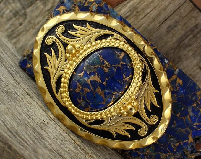 Belt Buckle -Western Belt Buckle -Lapis Lazuli Buckle -Cowboy Belt Buckle - Boho Belt Buckle - Western Buckle - Lapis Belt Buckle