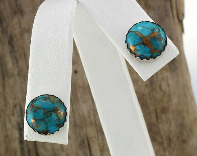 Silver Earrings - Mohave Blue Turquoise Earrings -Handmade Earrings - Boho Earrings - Studs - 10mm Silver Posts - Mohave Blue Turquoise