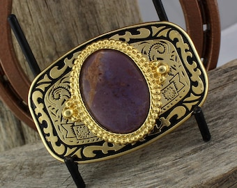 Western Belt Buckle -Natural Stone Belt Buckle -Cowboy Belt Buckle - Gold Tone and Black Belt Buckle with a Natural Purple Jade Stone