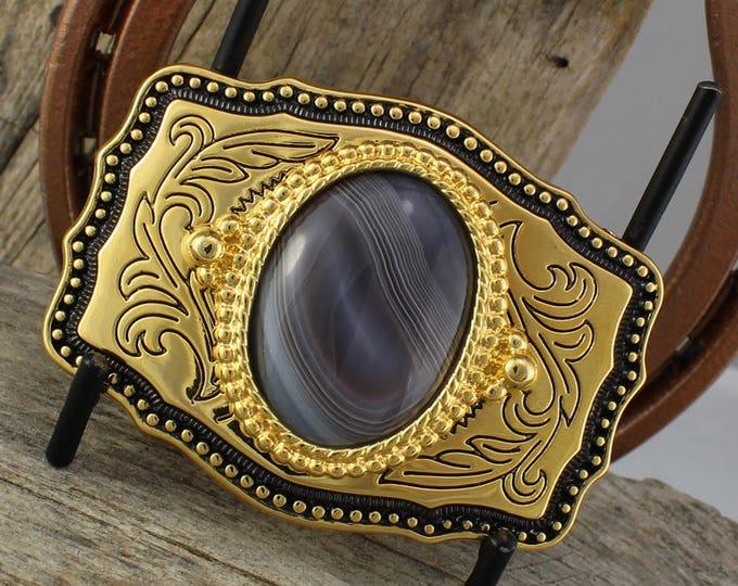 Western Belt Buckle -Natural Stone Belt Buckle -Cowboy Belt Buckle - Gold Tone & Black Belt Buckle with a Natural Botswana Agate Stone