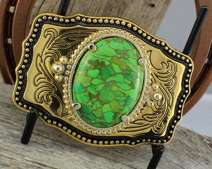 Mohave Green Turquoise Belt Buckle - Western Belt Buckle - Cowboy Belt Buckle -  Boho Belt Buckle