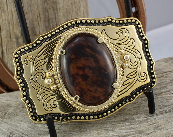 Western Belt Buckle -Natural Stone Belt Buckle -Cowboy Belt Buckle - Gold Tone & Black Belt Buckle with a Natural Mahogany Obsidian Stone