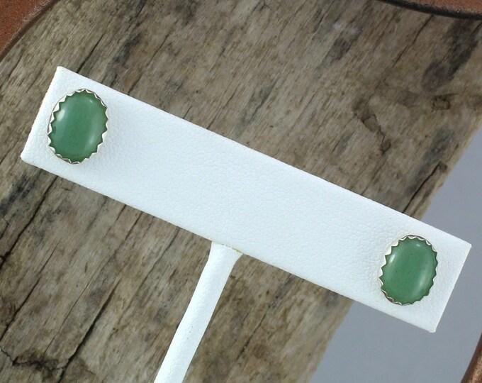 Silver Earring - Aventurine Earrings - Studs - Statement Earrings - Boho Earrings - Silver Posts with 10mm x 8mm Natural Green Aventurine