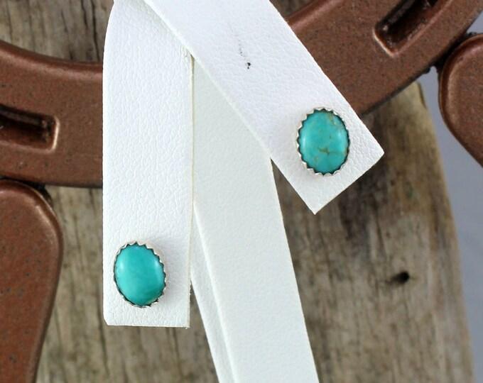 Silver Earrings - Blue Turquoise Earrings - Statement Earrings -  Wedding Earrings - Handmade Earrings - Post Earrings - 8mm x 6mm
