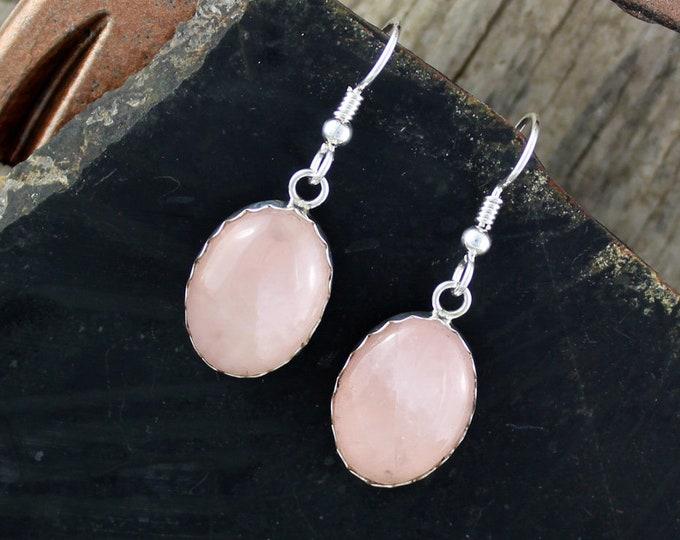 Rose Quartz Earrings-Silver Earrings Dangle Earrings-Drop Earrings -Statement Earrings -Pink Stone Earrings -Pink Earrings-Rose Quartz Drops