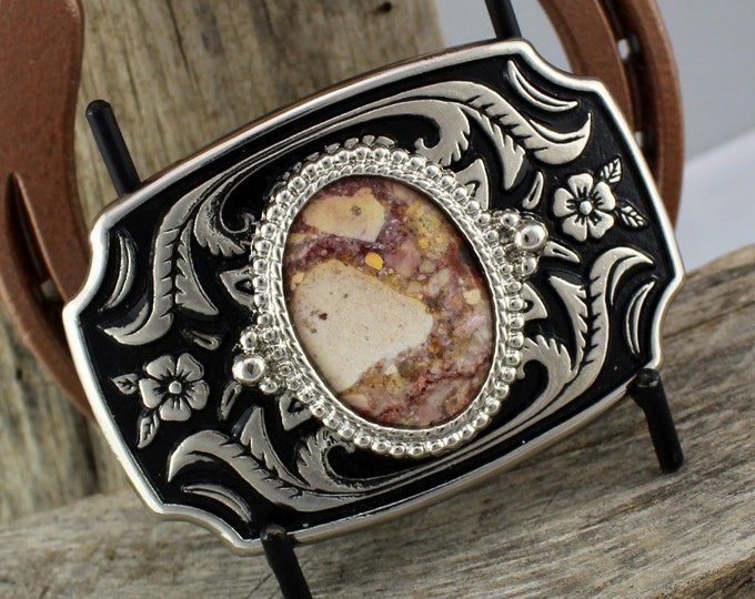 Western Belt Buckle -Natural Stone Belt Buckle -Cowboy Belt Buckle - Silver Tone & Black Belt Buckle with a Confetti Jasper Stone