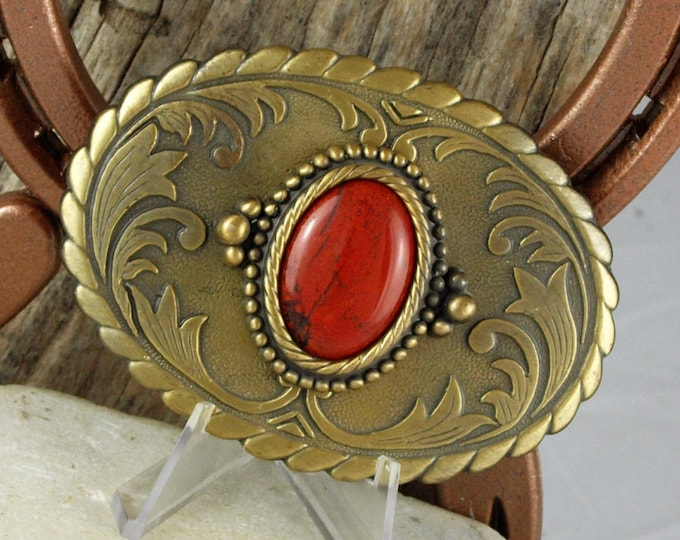 Western Belt Buckle -Natural Stone Belt Buckle -Cowboy Belt Buckle - Antique Gold Tone Belt Buckle with a Natural Red Jasper Stone