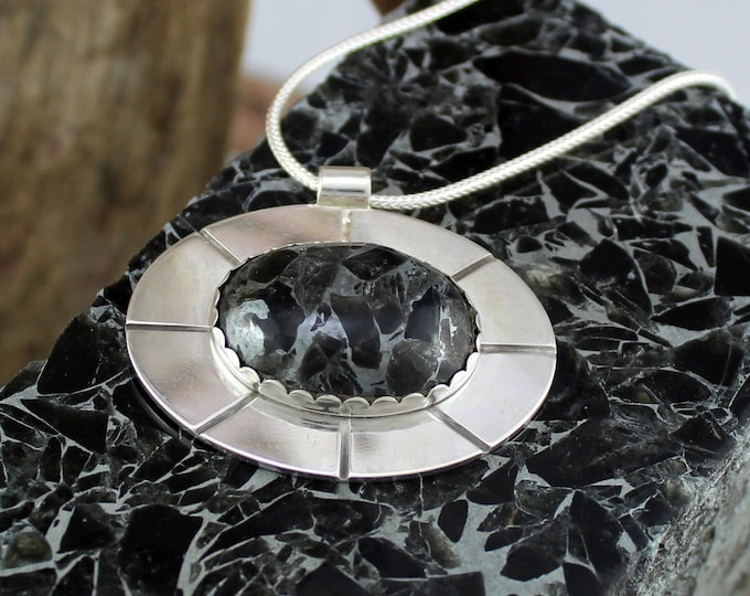 Silver Necklace - Obsidian Pendant - Pendant Necklace - Statement Necklace - Obsidian Necklace - Wedding Necklace - Silver Pendant