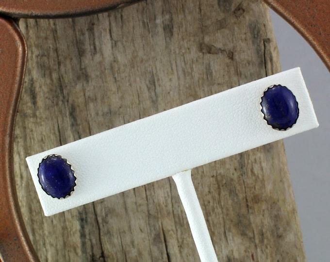 Silver Earrings - Blue Lapis Lazuli Earrings - Boho Earrings -    Studs - Statement Earrings-Silver Posts with 10mm x 8mm Blue Lapis Lazuli