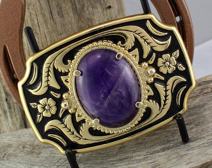 Belt Buckle - Western Belt Buckle - Amethyst Belt Buckle - Cowboy Belt Buckle - Boho Belt Buckle - Western Buckle - Cowgirl Belt Buckle