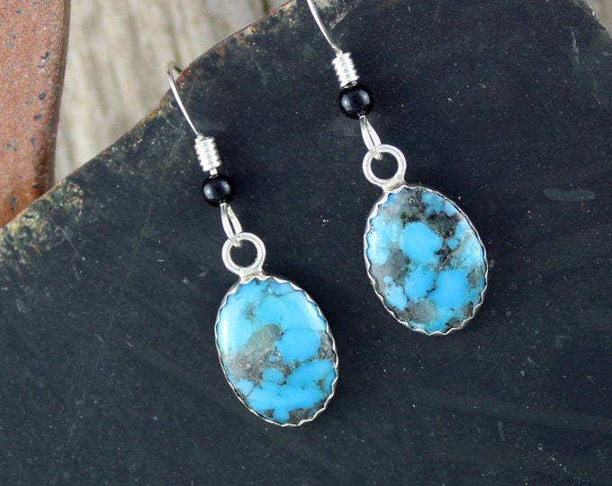 Silver Earrings - Turquoise Earrings - Dangle Earrings -Blue Stone Earrings - Statement Earrings