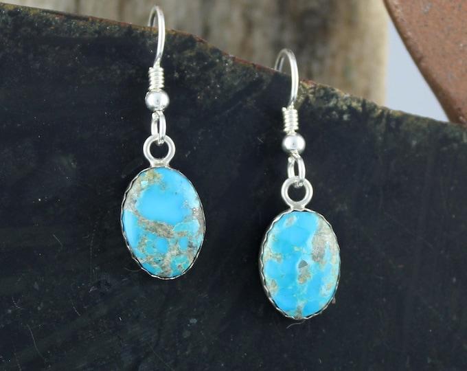 Silver Earrings -Blue Turquoise -Drop Earrings -Statement Earrings -Turquoise Earrings -Boho Earrings -Blue Stone Earrings -Dangle Earrings