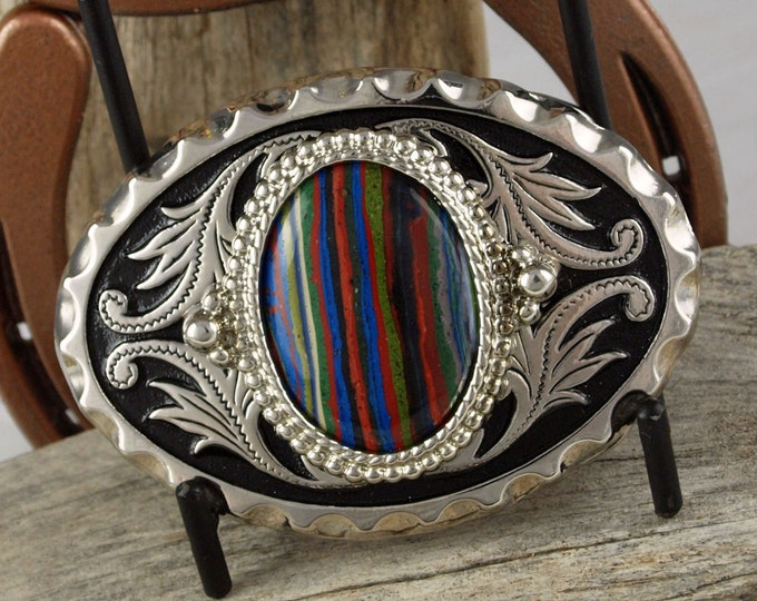 Western Belt Buckle -Rainbow Calsilica Buckle -Cowboy Belt Buckle - Silver Tone & Black Belt Buckle with a Rainbow Calsilica Stone