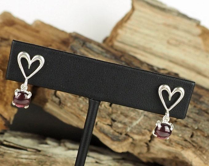 Silver Earrings - Red Garnet - Garnet Earrings - Heart Earrings - Boho Earrings - Dangle Earrings -Drop Earrings -Statement Earrings -Garnet