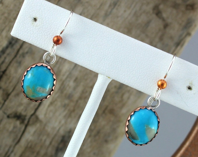 Copper & Silver Earrings - Blue Turquoise- Dangle Earrings - Drop Earrings-Statement Earrings-Blue Stone Earrings-Boho Earrings-s