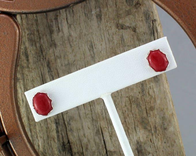 Silver Earrings -Red Mountain Jade Studs -Boho Earrings - Studs - Statement Earrings - Stone Earrings - Red Stone Earringss