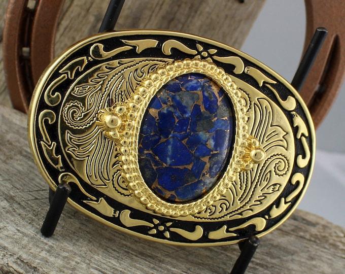 Belt Buckle - Western Belt Buckle -Lapis Belt Buckle -Cowboy Belt Buckle - Boho Belt Buckle - Western Buckle - Cowgirl Belt Buckle