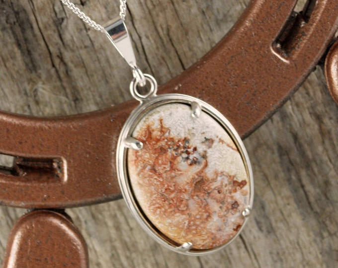 Sterling Silver -Natural Mexican Crazy Lace Agate Pendant/Necklace - 30mm x 22mm Natural Mexican Crazy Lace Agate in Sterling Silver