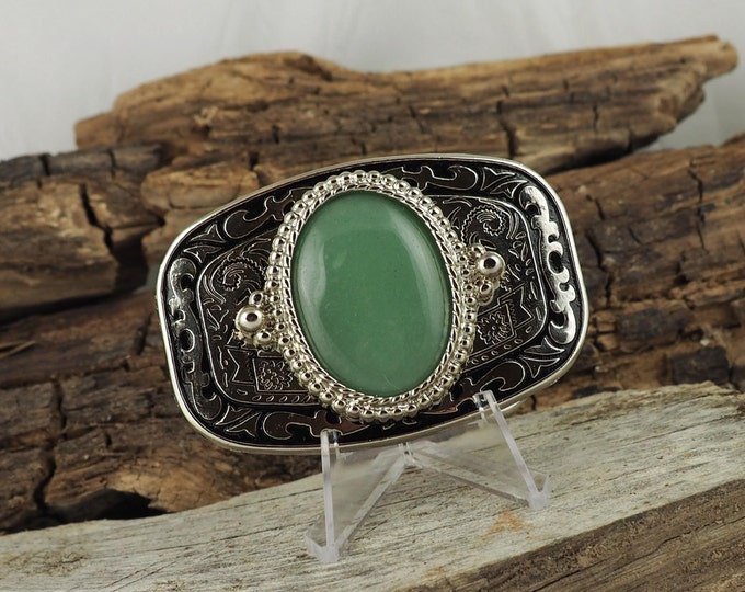 Western Belt Buckle -Natural Stone Belt Buckle -Cowboy Belt Buckle - Silver Tone and Black Belt Buckle with a natural Green Aventurine Stone