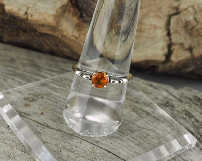 Sterling Silver Ring - Natural Madeira Citrine Ring - Promise Ring - Friendship Ring - Scroll Ring with a 5mm Natural Madeira Citrine Stone