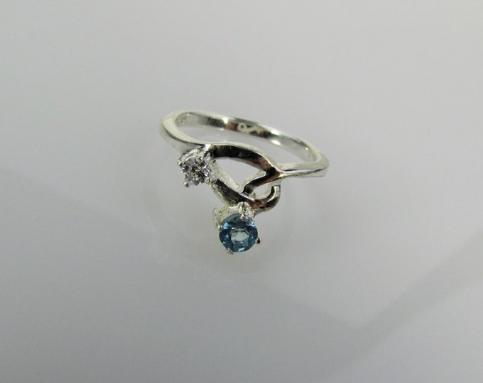 Sterling Silver Ring - Natrural Aquamarine Ring - Friendship Ring - Promise Ring with a 4mm Natural Aquamarine Stone with CZ Accent