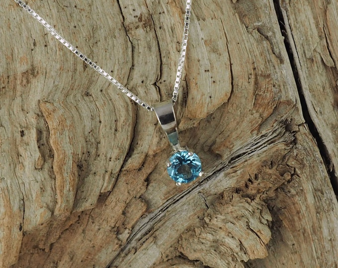 Sterling Silver Pendant/Necklace Swiss Blue Topaz Pendant/Necklace - Sterling Silver Setting with a 5mm Natural Swiss Blue Topaz Gemstone