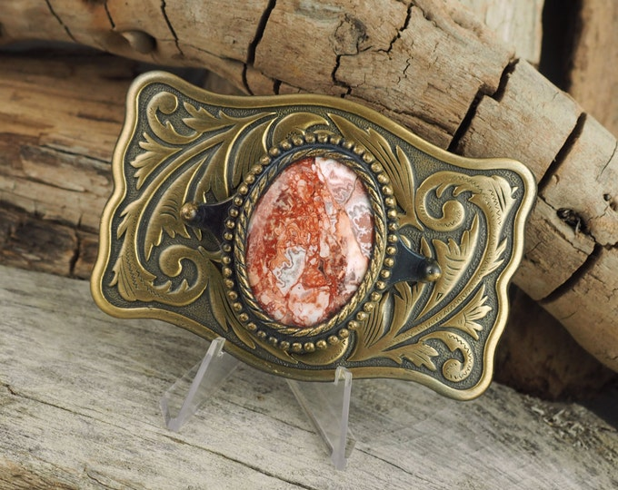 Western Belt Buckle -Natural Stone Belt Buckle -Cowboy Belt Buckle - Antique Gold Tone Belt Buckle with a Mexican Crazy Lace Agate Stone