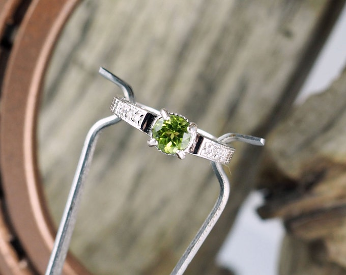 Sterling Silver Ring - Green Peridot Ring  Promise/Friendship Ring with a 6mm Natural Green Peridot Stone with CZs Accent Stones