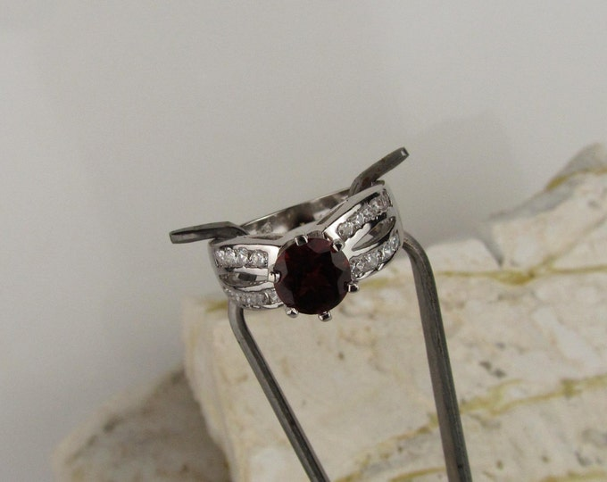 Sterling Silver Ring - Natural Red Garnet Ring - Friendship Ring - Promise Ring - Statement Ring - with a 7mm Red Garnet and CZ Accents