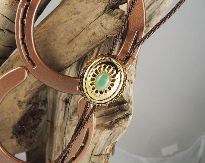 Western Bolo Tie - Natural Aventurine Bolo Tie - Cowboy Bolo Tie - Handmade Bolo Tie - Gold Tone Concho Slide with a Green Aventurine Stone