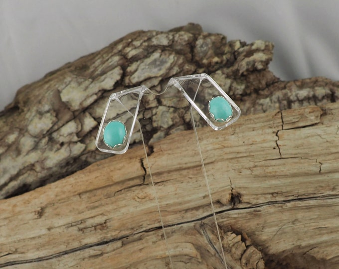 Silver Earrings - Real Turquoise  - Stud Earrings - Boho Earrings -Statement Earrings - Studs -Turquoise Earrings - Blue Stone Earrings
