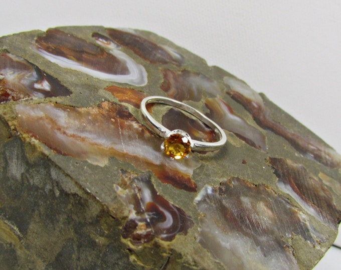 Sterling Silver Madeira Citrine Promise Friendship  Ring Engagement Ring Everyday Ring with 5mm Natural Madeira Citrine