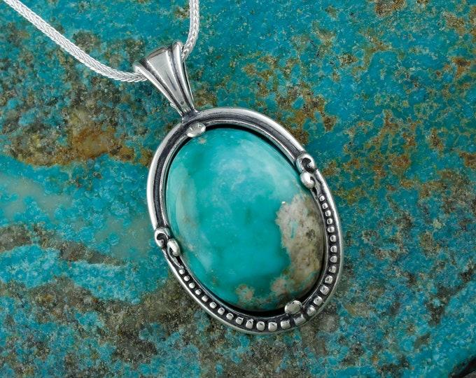 Turquoise Pendant - Silver Pendant - Turquoise Necklace -Statement Necklace - Pendant Necklace