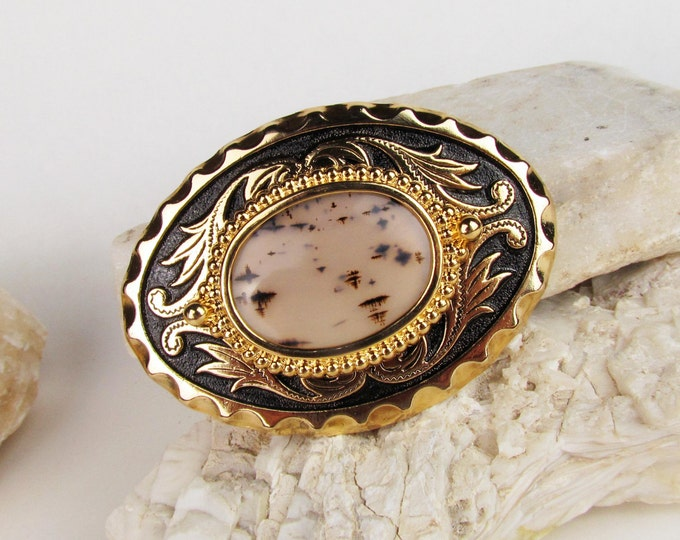 Western Belt Buckle -Natural Stone Belt Buckle -Cowboy Belt Buckle - Gold Tone & Black Belt Buckle with a Natural Montana Agate Stone