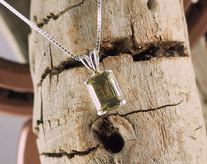 Sterling Silver Pendant/Necklace - Lemon Quartz Pendant/Necklace - Sterling Silver Setting with a 6mm x 8mm Emerald Cut Lemon Quartz Stone