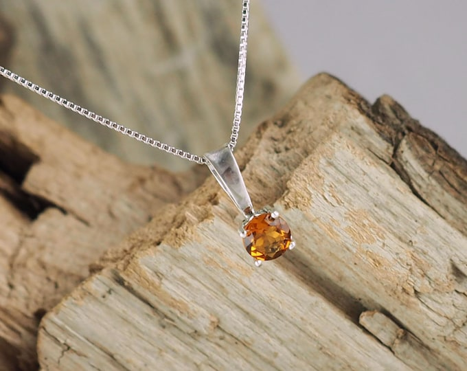 Sterling Silver Pendant/Necklace  Madeira Citrine Pendant/Necklace - Sterling Silver Setting with a 5mm Madeira Citrine Stone
