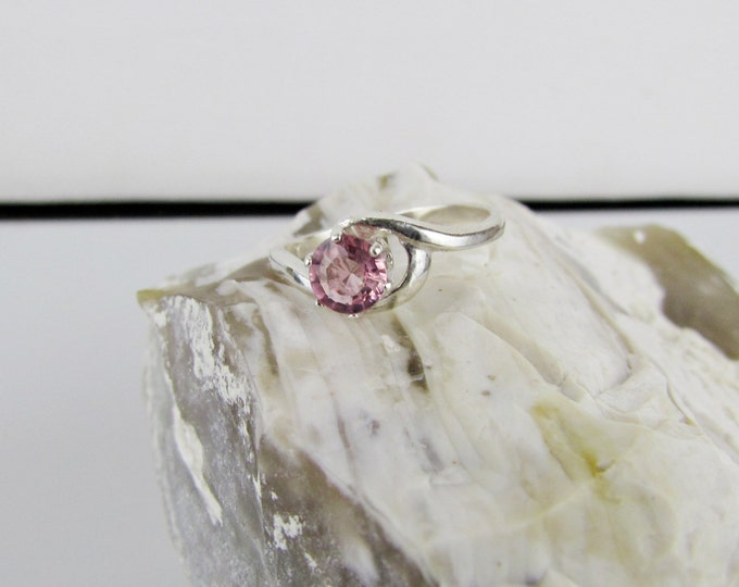 Sterling Silver Ring - Natural Tourmaline Ring - Friendship Ring - Statement Ring - Promise Ring with a 6mm Natural Pink Tourmaline Gemstone