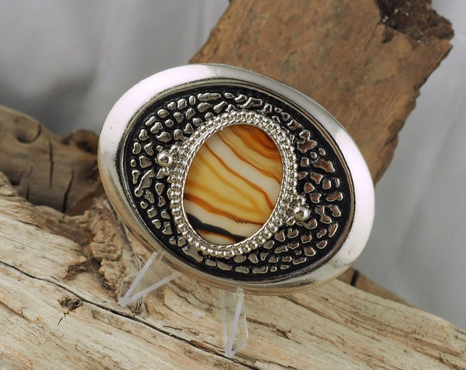 Western Belt Buckle -Montana Agate Belt Buckle -Cowboy Belt Buckle - Silver Tone and Black Belt Buckle with a Natural Montana Agate Stone