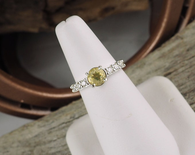 Sterling Silver Ring - Natural Lemon Quartz Ring - Friendship Ring - Promise Ring - Statement Ring with a 6mm Lemon Quartz with CZ Accents