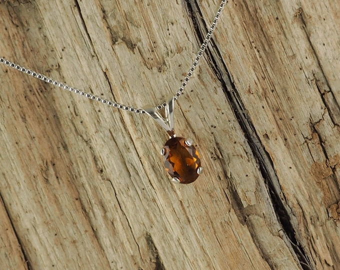 Sterling Silver Pendant/Necklace  Madeira Citrine Pendant/Necklace - Sterling Silver Setting with a 5mm x 7mm Natural Madeira Citrine Stone