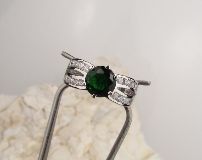Sterling Silver Ring - Emerald Green Topaz Ring - Statement Ring - Friendship Ring with a 7mm Emerald Green Topaz with CZ Accents