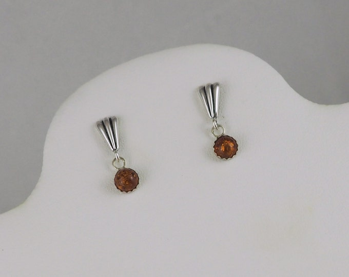 Silver Earrings- Baltic Amber- Dangle Earrings- Drop Earrings- Boho- Gemstone Earrings- Statement Earrings- Fluted Earrings- Orange Gemstone