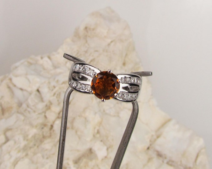 Sterling Silver Ring -Natural Madeira Citrine Ring -Statement Ring - Friendship Ring with 7mm Natural Madeira Citrine with CZ Accents