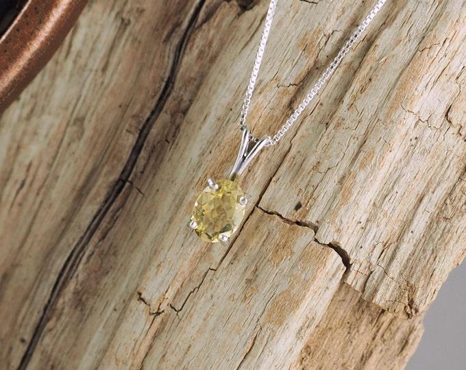 Sterling Silver Pendant/Necklace - Lemon Quartz Pendant/Necklace - Sterling Silver Setting with a 6mm x 8mm Natural Lemon Quartz Solitaire